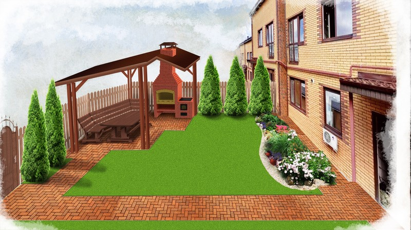 3Д эскиз ландшафтного дизайна таунхауса.